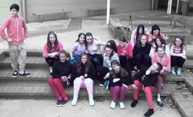 Students wearing pink in support fo Anti-Cyberbullying Day